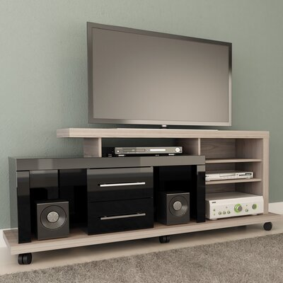 Furniture-Empire TV Stand Finish Nature White and Black Pro Touch