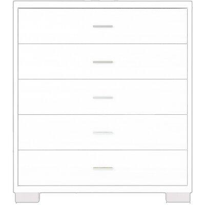 Furniture-Astor 5 Drawer Dresser Color White Gloss