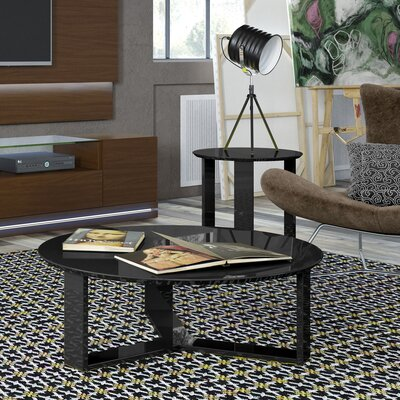 Emiliah 2 Piece Coffee Table Set Color: Black Gloss