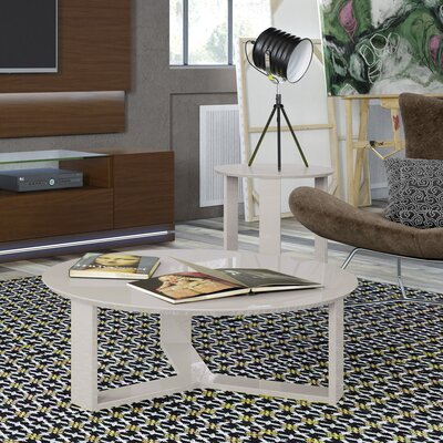 Emiliah 2 Piece Coffee Table Set Color: Off White