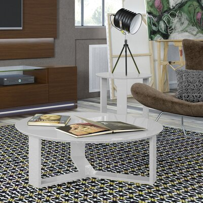 Emiliah 2 Piece Coffee Table Set Color: White Gloss