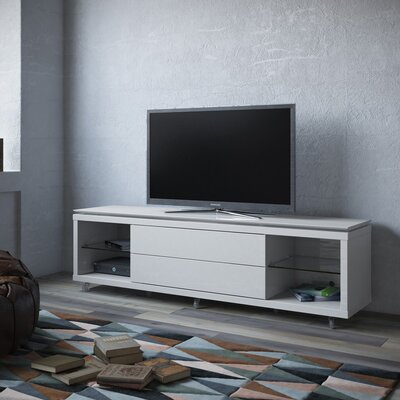 Franklin 77-95 TV Stand Color: White Gloss, Width of TV Stand: 21.22 H x 94.48 W x 17.63 D
