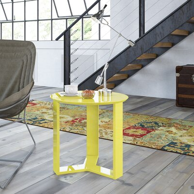 Emiliah Round End Table Color: Yellow