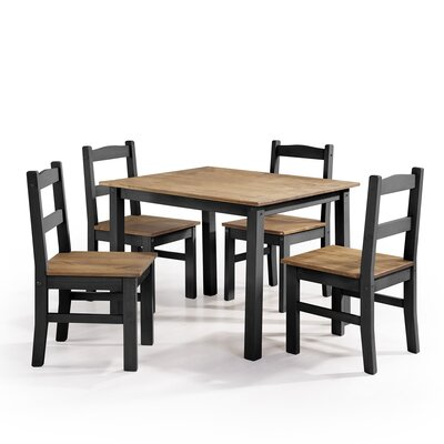 Rodgers Solid Wood 5 Piece Dining Set Finish: Black Wash