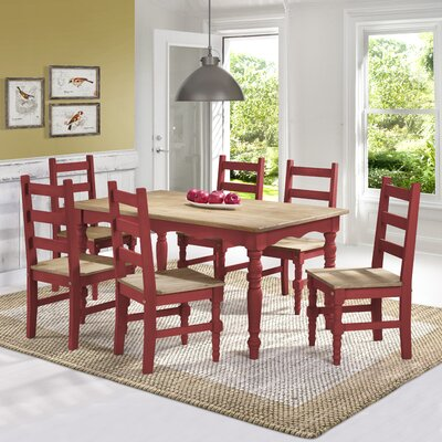 Pinard Solid Wood 7 Piece Dining Set Finish: Red Wash