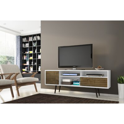 Lewis Mid Century Modern 70.86 TV Stand with 4 Shelving Spaces and 1 Drawer Color: White/Rustic Brown