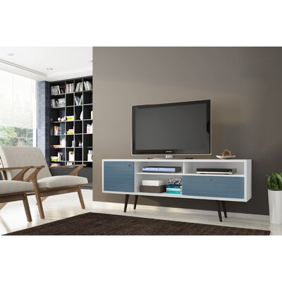 Lewis Mid Century Modern 70.86 TV Stand with 4 Shelving Spaces and 1 Drawer Color: White/Aqua Blue