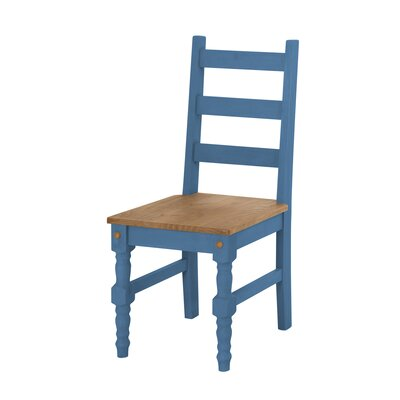 Pinard Solid Wood Dining Chair Finish: Blue Wash