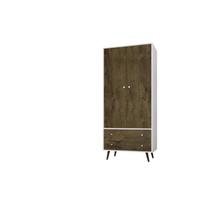 Lewis Mid Century Modern Armoire Color: White/Rustic Brown