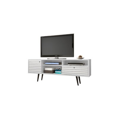 Lewis Mid Century Modern 70.86 TV Stand with 4 Shelving Spaces and 1 Drawer Color: White