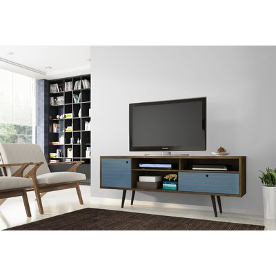 Lewis Mid Century Modern 70.86 TV Stand with 4 Shelving Spaces and 1 Drawer Color: Rustic Brown/Aqua Blue