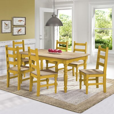 Pinard Solid Wood 7 Piece Dining Set Finish: Yellow Wash