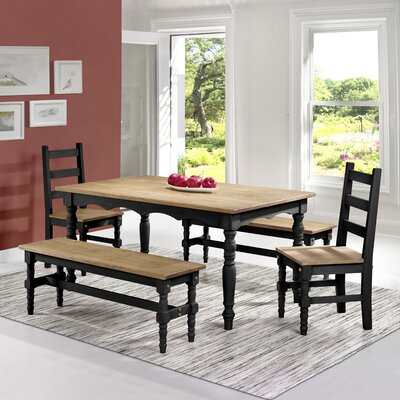 Pinard Solid Wood 5 Piece Dining Set Finish: Black Wash