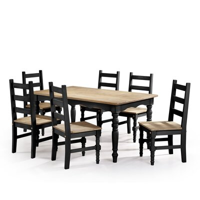 Pinard Solid Wood 7 Piece Dining Set Finish: Black Wash