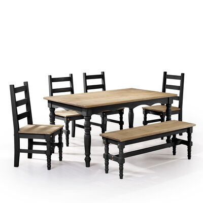 Robertson Solid Wood 6 Piece Dining Set Finish: Black Wash