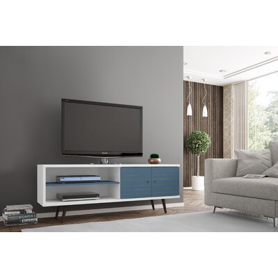 Lewis 62.99 Mid Century - Modern TV Stand with 3 Shelves and 2 Doors in White  with Solid Wood Legs Color: White/Aqua Blue