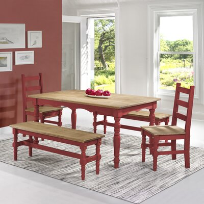 Pinard Solid Wood 5 Piece Dining Set Finish: Red Wash