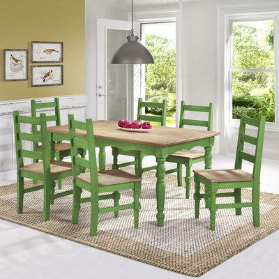 Pinard Solid Wood 7 Piece Dining Set Finish: Green Wash