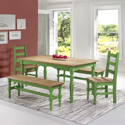 Pinard Solid Wood 5 Piece Dining Set Finish: Green Wash
