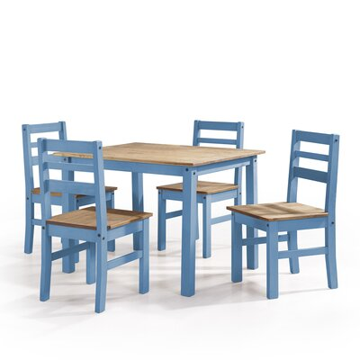 Robin Solid Wood 5 Piece Dining Set Finish: Blue Wash