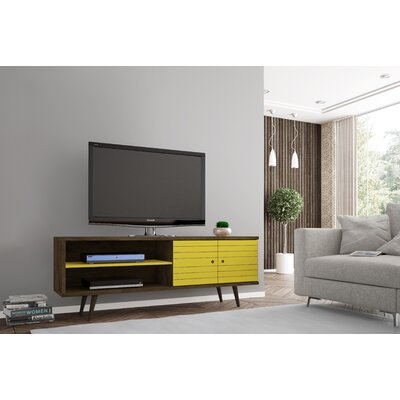 Lewis 62.99 Mid Century - Modern TV Stand with 3 Shelves and 2 Doors in White  with Solid Wood Legs Color: Rustic Brown/Yellow
