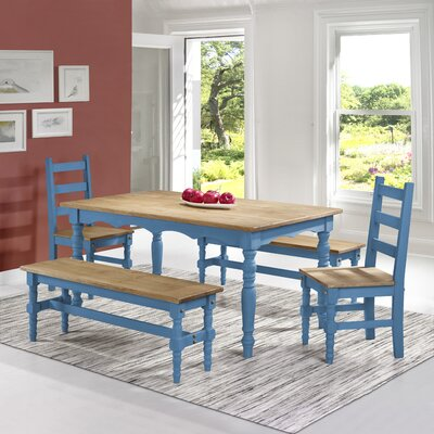 Pinard Solid Wood 5 Piece Dining Set Finish: Blue Wash