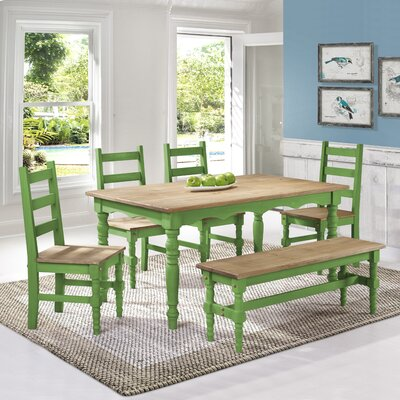 Robertson Solid Wood 6 Piece Dining Set Finish: Green Wash