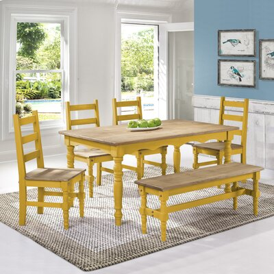 Robertson Solid Wood 6 Piece Dining Set Finish: Yellow Wash