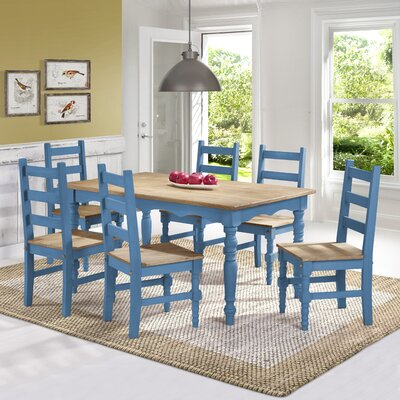 Pinard Solid Wood 7 Piece Dining Set Finish: Blue Wash