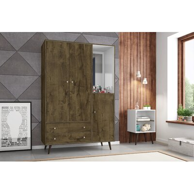 Lewis Wood Mid Century Modern Armoire Color: Rustic Brown