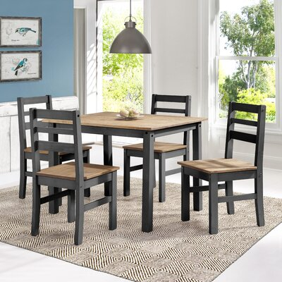 Robin Solid Wood 5 Piece Dining Set Finish: Black Wash