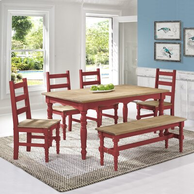 Pinard Solid Wood Dining Set Finish: Red Wash