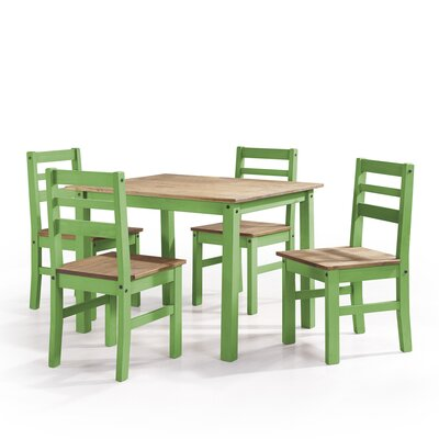 Robin Solid Wood 5 Piece Dining Set Finish: Green Wash
