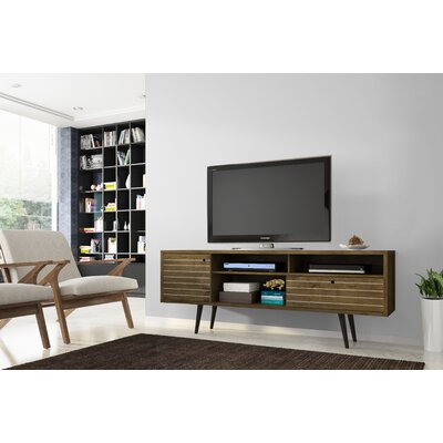 Lewis Mid Century Modern 70.86 TV Stand with 4 Shelving Spaces and 1 Drawer Color: Rustic Brown