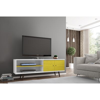 Lewis 62.99 Mid Century - Modern TV Stand with 3 Shelves and 2 Doors in White  with Solid Wood Legs Color: White/Yellow