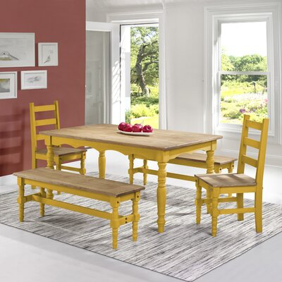 Pinard Solid Wood 5 Piece Dining Set Finish: Yellow Wash