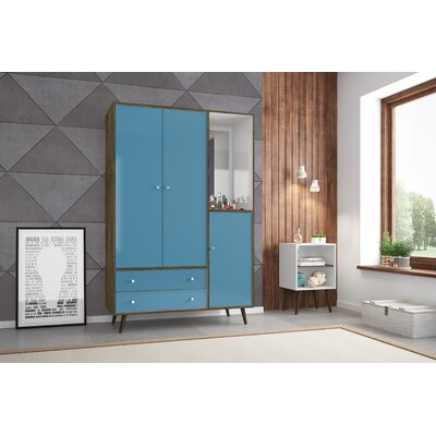 Lewis Wood Mid Century Modern Armoire Color: Rustic Brown/Aqua Blue