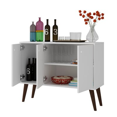 Vreeland Buffet Stand with 3 Shelves and 3 Doors Color: White