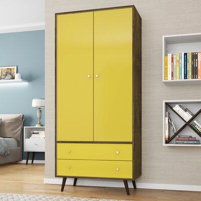 Lewis Mid Century Modern Armoire Color: Rustic Brown/Yellow