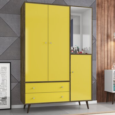 Lewis Wood Mid Century Modern Armoire Color: Rustic Brown/Yellow