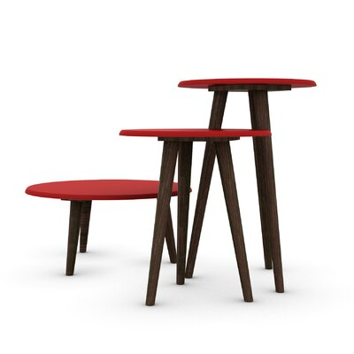 Morristown Mid Century Modern 3 Piece End Table Color: Red
