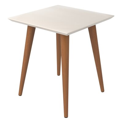 Lemington Square End Table With Splayed Wooden Legs Color: Off White/Maple Cream