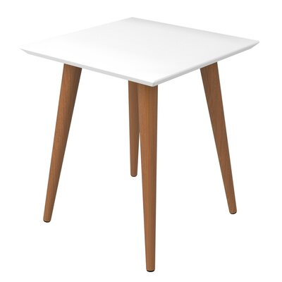 Lemington Square End Table With Splayed Wooden Legs Color: White Gloss/Maple Cream