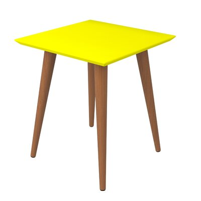 Lemington Square End Table With Splayed Wooden Legs Color: Yellow