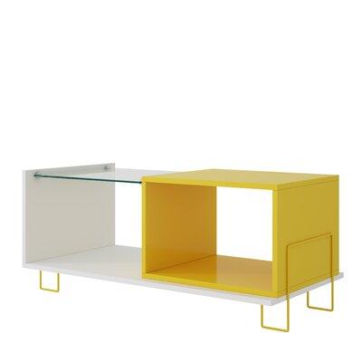 Vuong End Table with 2 Shelves Color: White/Yellow
