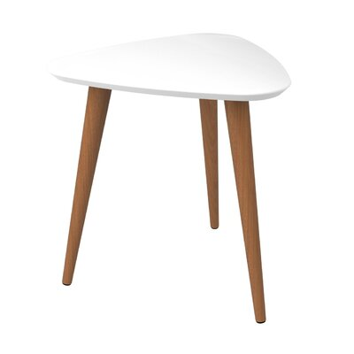 Lemington Triangle End Table With Splayed Wooden Legs Color: White Gloss/Maple Cream