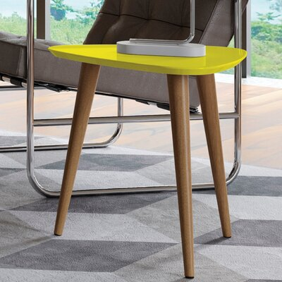 Lemington Triangle End Table With Splayed Wooden Legs Color: Yellow