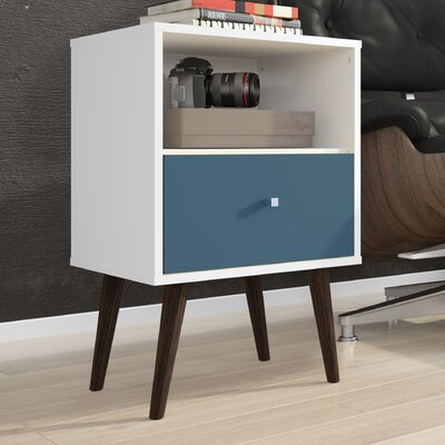 Amory Mid Century Modern 1 Drawer Nightstand Color: White/Aqua Blue