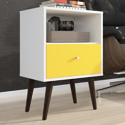 Lewis Mid Century Modern 1 Drawer Nightstand Color: White/Yellow