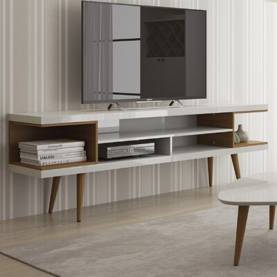 Lemington 70.47 TV Stand with Splayed Wooden Legs and 4 Shelves Color: White Gloss/Maple Cream